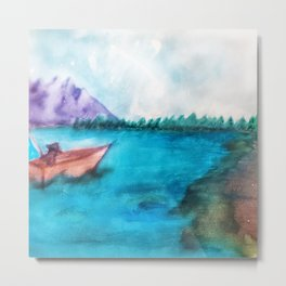 Country Lake Fishing Metal Print