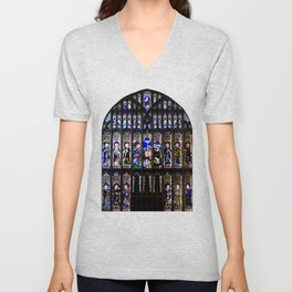 Stained Glass Window Shakespeare's Church Stratford upon Avon England Unisex V-Neck