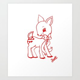 Deer Valentine Art Print