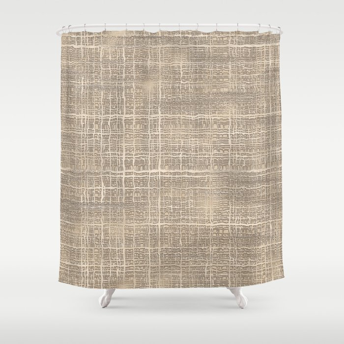 Elegant Chic Beige Brown Jute Burlap Textile Pattern Shower Curtain