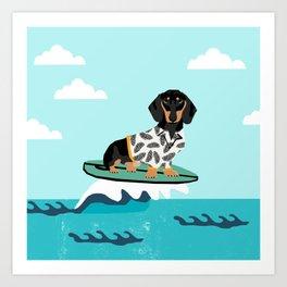 dachshund surfing dog bred pet gifts Art Print