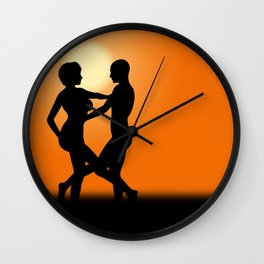 Sunset Dancing Lovers Wall Clock