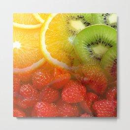 Oranges, Kiwis, & Raspberries Collage Metal Print