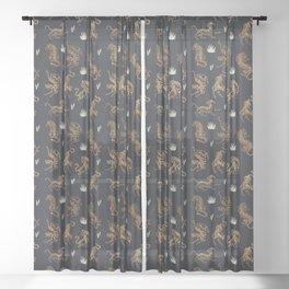 Golden Tigers Sheer Curtain