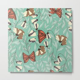 Beautiful Vintage Butterfly And Flower Pattern Metal Print