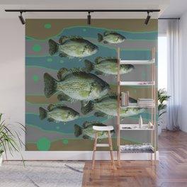 MODERN ART DECORATIVE SCHOOL OF GREEN FISH Wall Mural