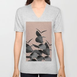 Eucalyptus Leaves Black Gray White Pale Terracotta #1 #foliage #decor #art #society6 Unisex V-Neck