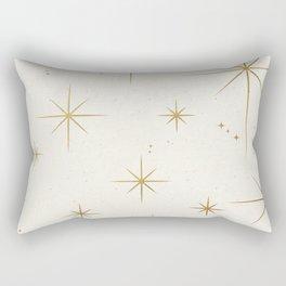 Seamless Pattern Glamorous White Gold Art Deco Stars Constellations Minimalist Geometric Pattern Rectangular Pillow