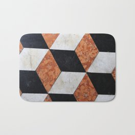 Red Orange Black White Geometric Pattern Bath Mat