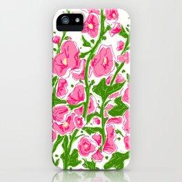 Hollyhocks dark pink iPhone Case