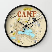 camp Wall Clocks featuring camp by AJE Custom Shop