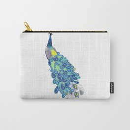 Peacock - Green, Yellow and Gray Carry-All Pouch