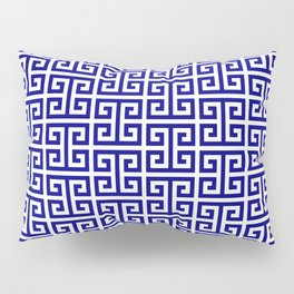 Navy and White Greek Key Pattern Pillow Sham