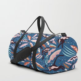 Exotic Wilderness on Blue / Panthers and Plants Duffle Bag