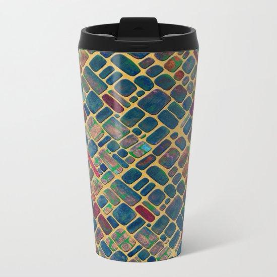 Abstract Tile Mosaic 2 Metal Travel Mug