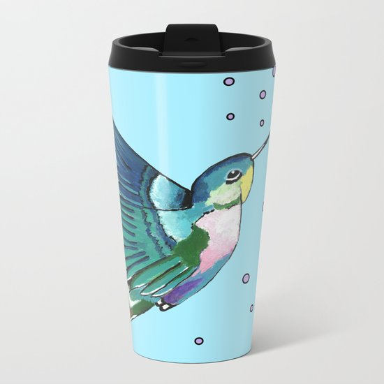Hummingbird Blue Metal Travel Mug
