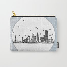 Seattle, Washington City Skyline Illustration Drawing Carry-All Pouch
