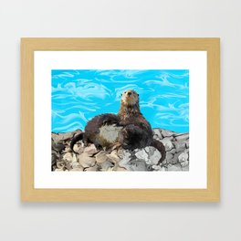 Where the River Meets the Sea Otters Framed Art Print