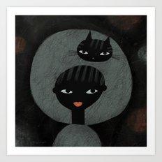 SPACE CAT ON HEAD Art Print