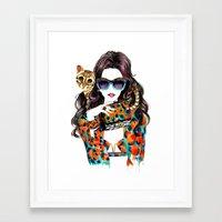 kenzo Framed Art Prints featuring Kenzo Girl by Sunny Gu