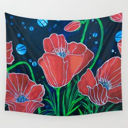Stylized Red Poppies Wall Tapestry