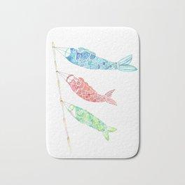 Watercolor Japan Carp Streamers / Koinobori Bath Mat