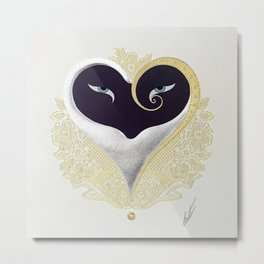 """Black & Gold Filigree Heart"" Design Metal Print"