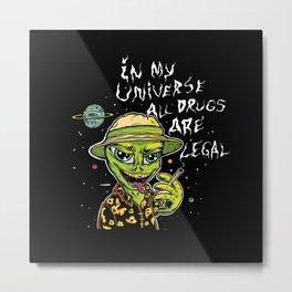 Stoned Alien Metal Print