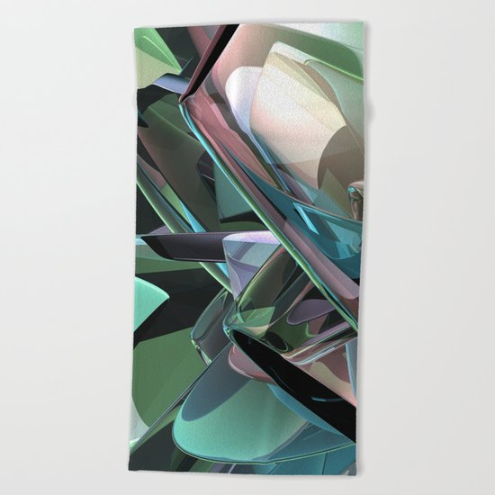 Colorful 3D Reflections Beach Towel
