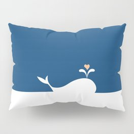 Whale in Blue Ocean with a Love Heart Pillow Sham