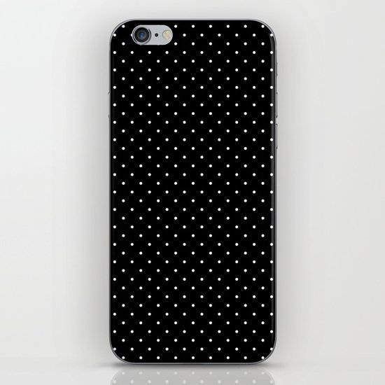 White polka dots on black iPhone Skin