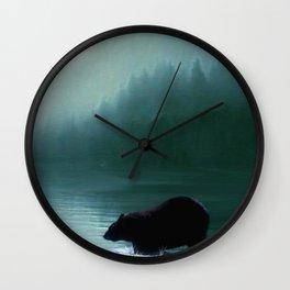 Stepping Into The Moonlight - Black Bear and Moonlit Lake Wall Clock
