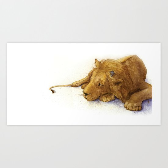 Lion and Mouse: Aesop's Fable Art Print