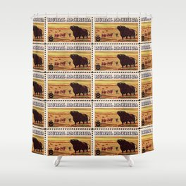 Rural America cattles herd vintage US post stamp Shower Curtain