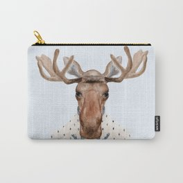 M is for a Moose in a Marvelous Moose Sweater | Watercolor Moose Carry-All Pouch