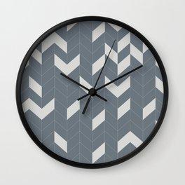 Grey and Grey Herringbone Wall Clock