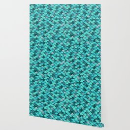 Mermaid Scales Turquoise Wallpaper
