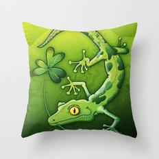 Saint Patrick's Day Gecko Throw Pillow