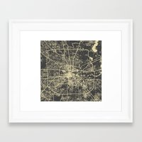 houston Framed Art Prints featuring Houston Yellow by Map Map Maps