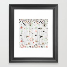Print with stripes and lines, abstract shapes and dots Framed Art Print