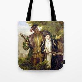 Tudor Romance - Henry VIII and Anne Boleyn hunting Tote Bag