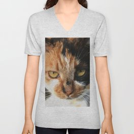 Tortoiseshell and White Calico Cat Unisex V-Neck