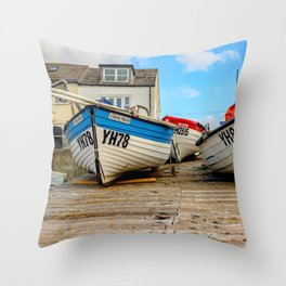Front on view of crab fishing boats on the Norfolk Coast Throw Pillow