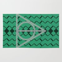 slytherin Area & Throw Rugs featuring The Deathly Hallows- Slytherin by cinefuck
