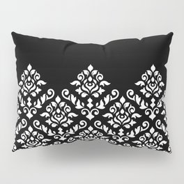 Damask Baroque Part Pattern White on Black Pillow Sham