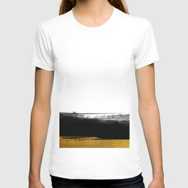 Black and Gold grunge stripes on clear white background - Stripe - Striped T-shirt
