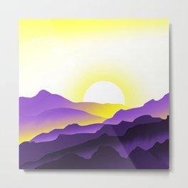 Nonbinary Pride Sunrise Landscape Metal Print