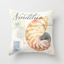 Watercolor Nautilus Throw Pillow
