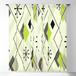 Mid Century Modern Scattered Diamonds Chartreuse Green Olive Blackout Curtain