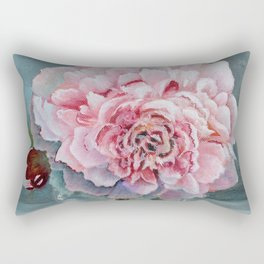 Peony Memories Flower Painting Rectangular Pillow
